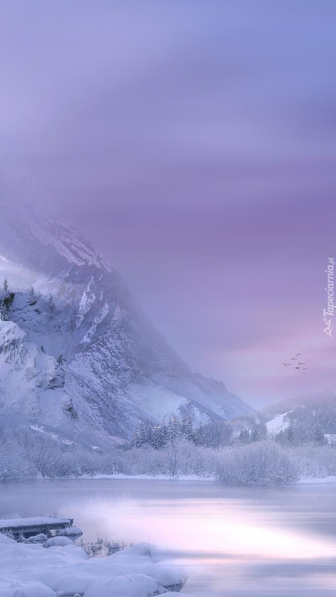 Zimowy krajobraz nad górskim jeziorem