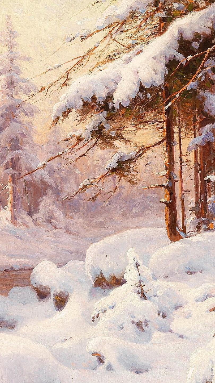 Zimowy las na obrazie Waltera Morasa
