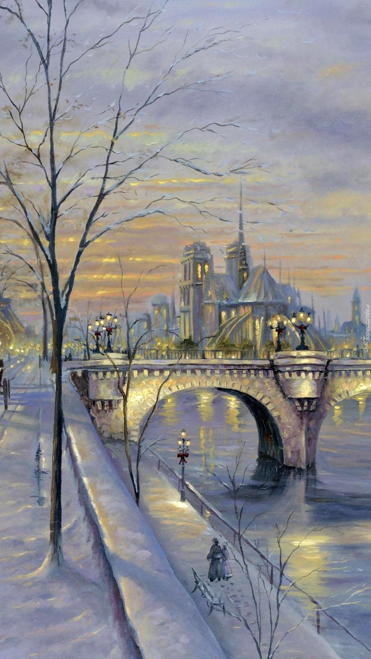 Zimowy Paryż na obrazie