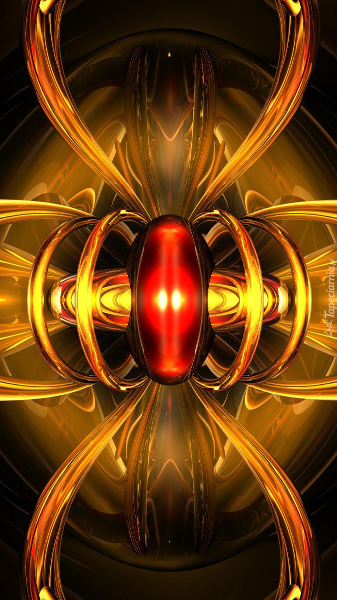 Złota abstrakcja z czerwonym środkiem w 3D