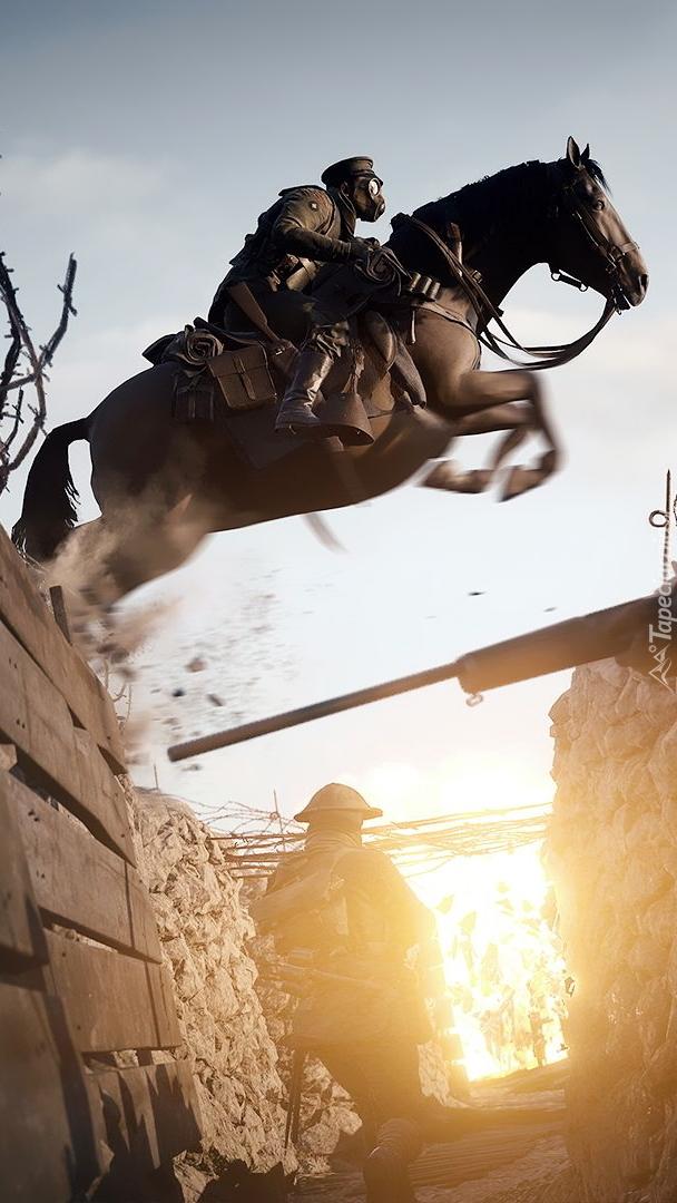 Żołnierz na koniu z gry Battlefield 1
