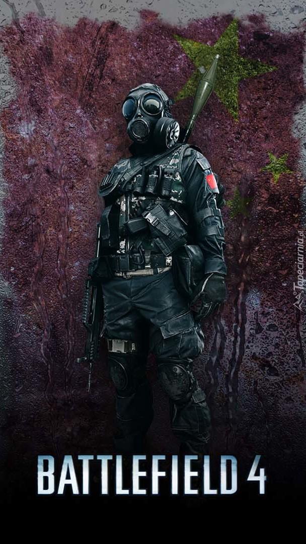 Żołnierz w masce przeciwgazowej