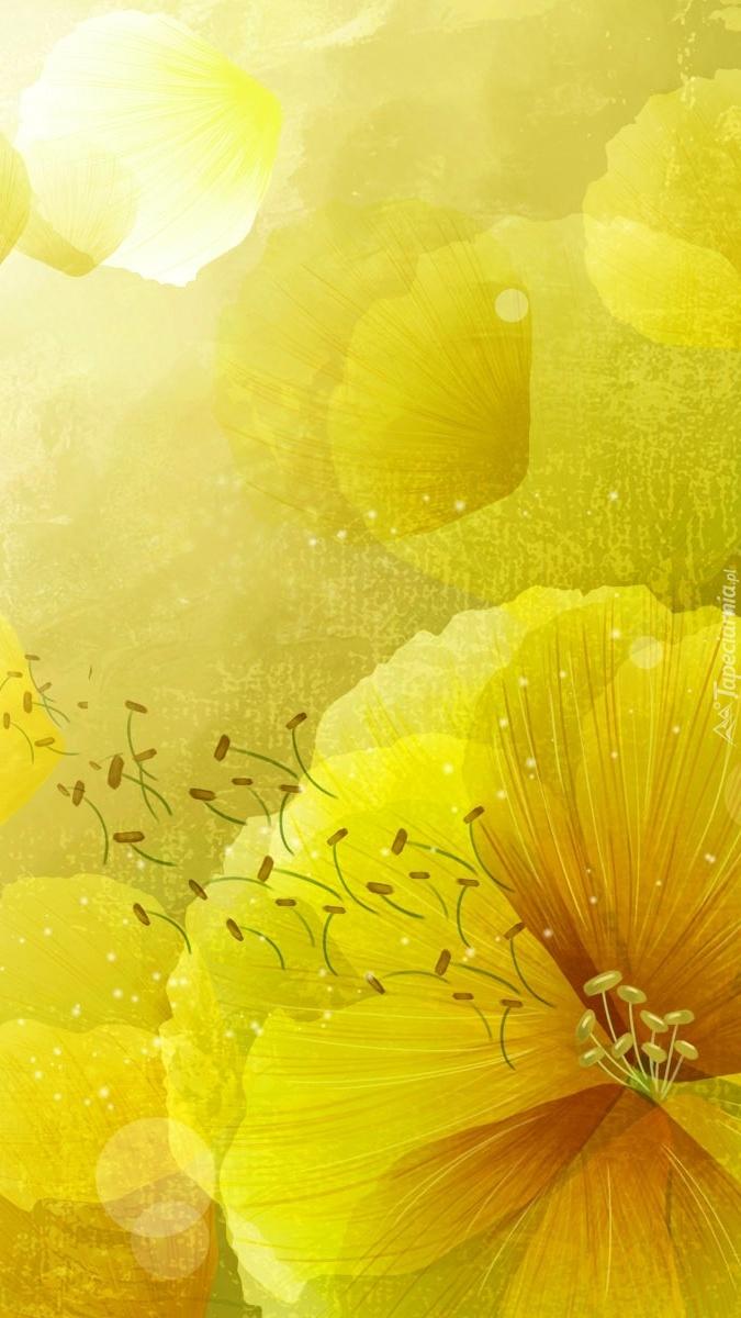 Żółte kwiaty w 2D