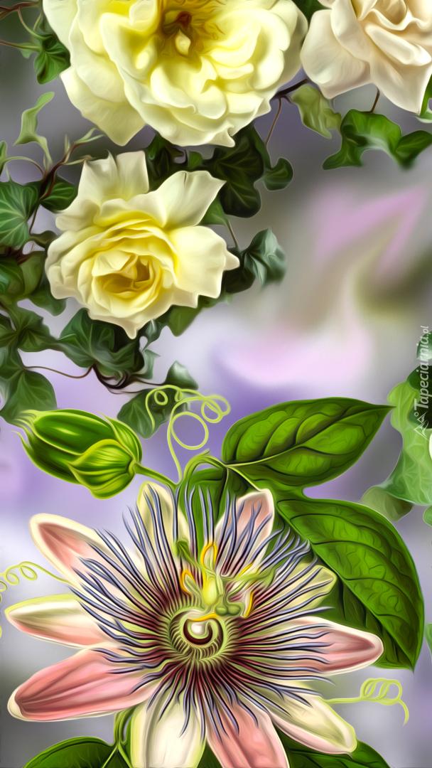 Żółte róże i męczennica w grafice