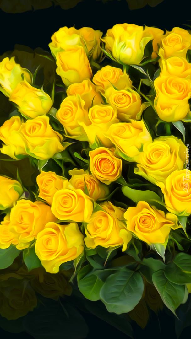 Żółte róże w grafice
