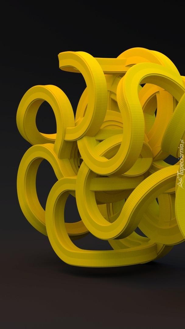 Żółte sploty w grafice 3D
