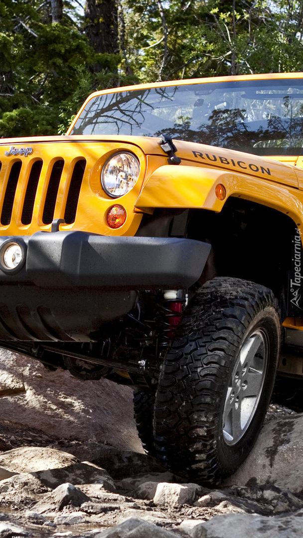 Żółty Jeep Wrangler Rubicon