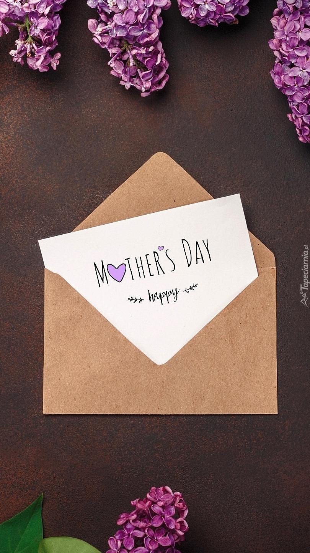 Życzenia na Dzień Matki obok bzu