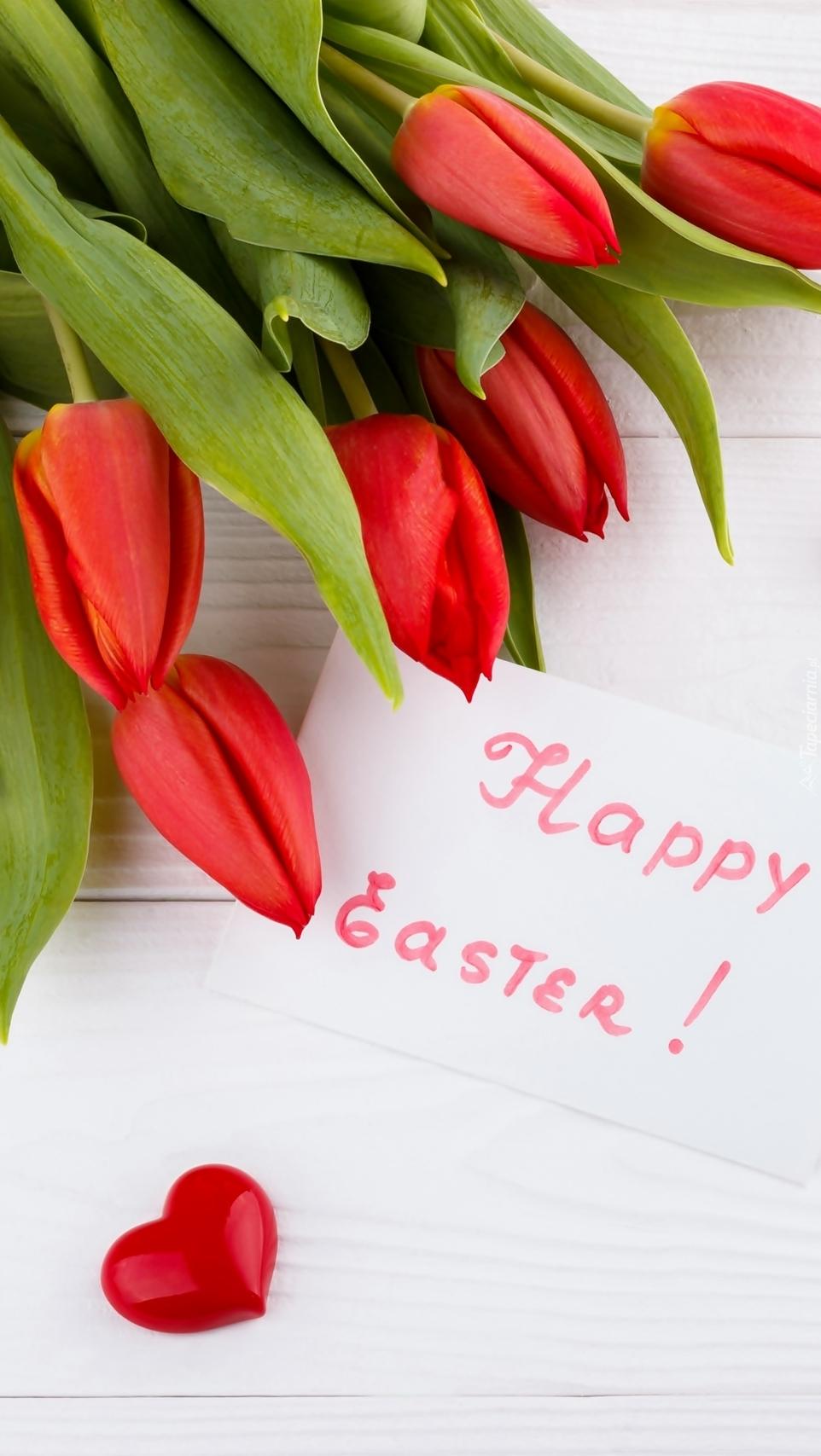 Życzenia wielkanocne i tulipany