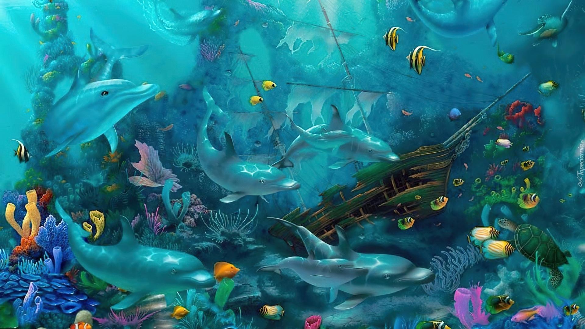 underwater paintings of fish