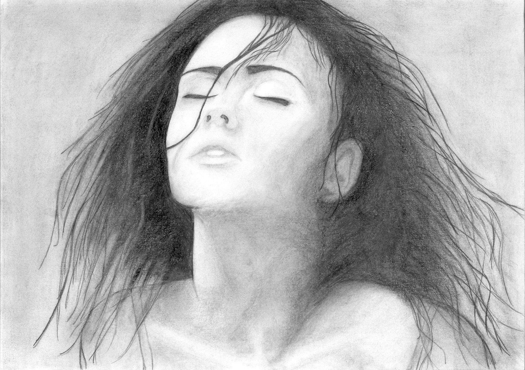 Twarz Kobiety Szkic Zamknięte Oczy