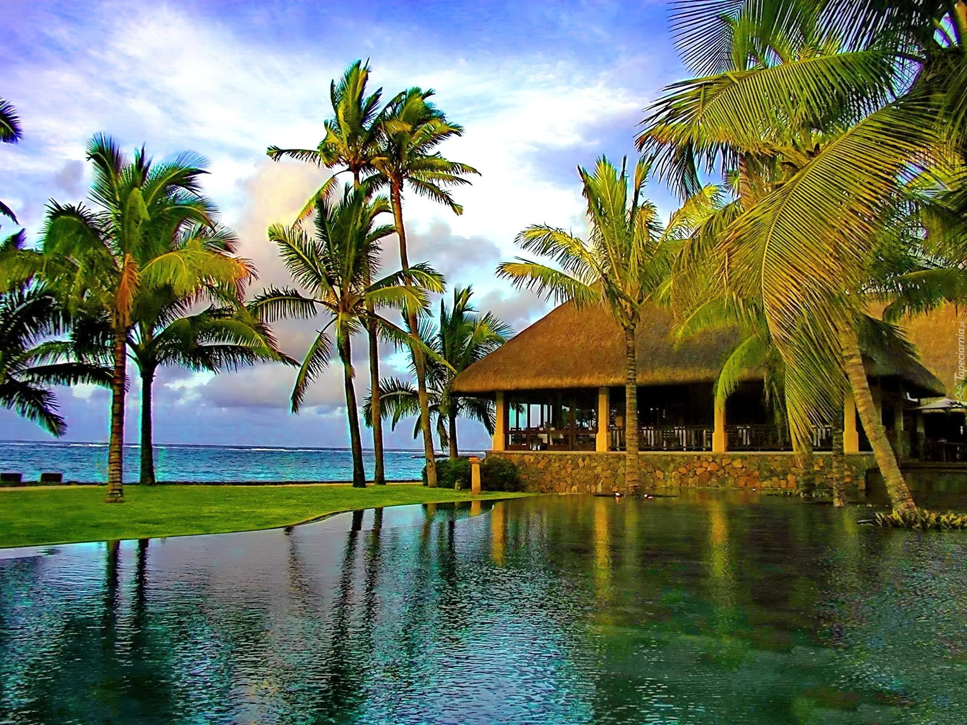 центров обои на рабочий стол пляж море пальмы бунгало алла