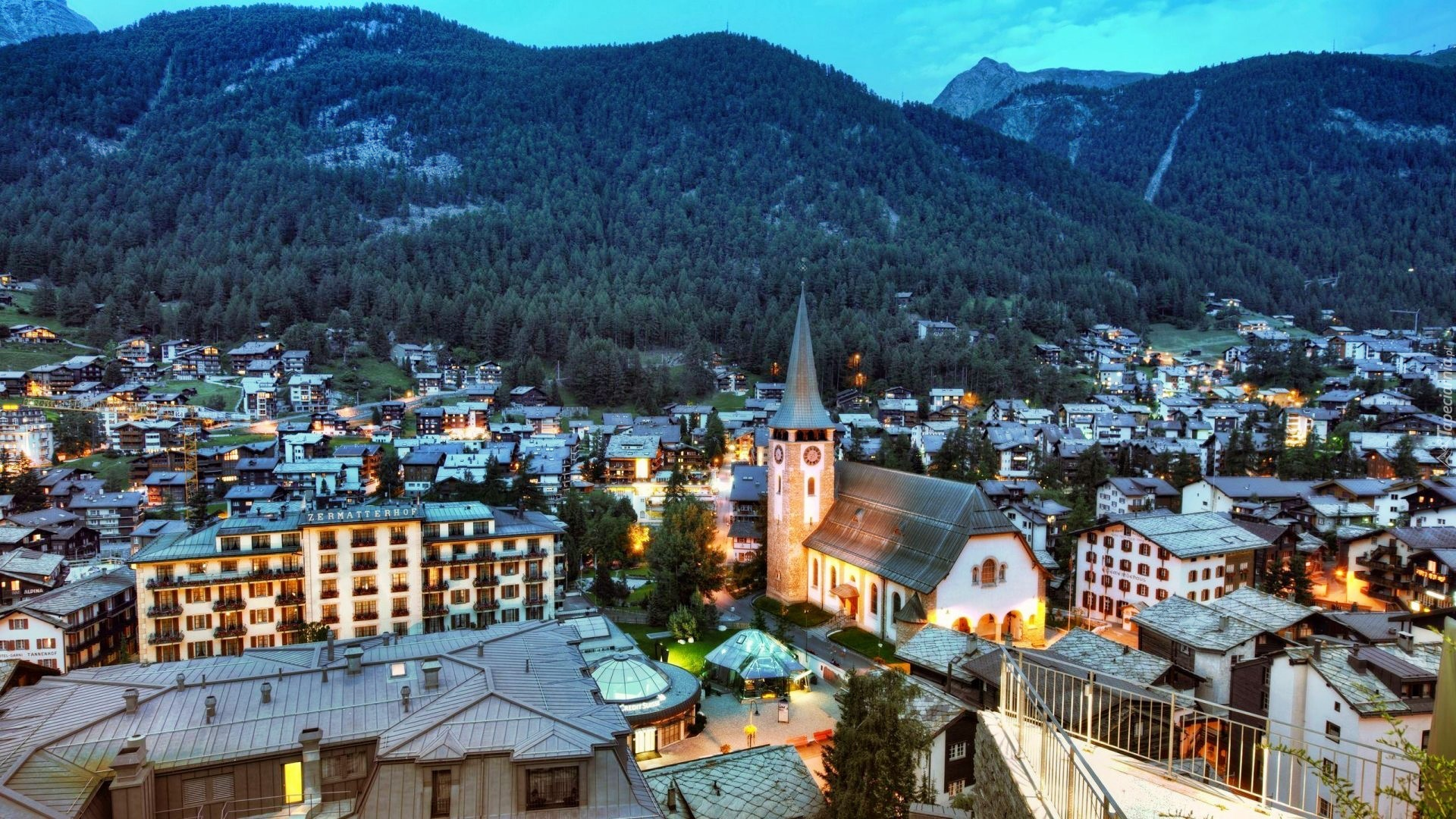 zermatt szwajcaria panorama miasta