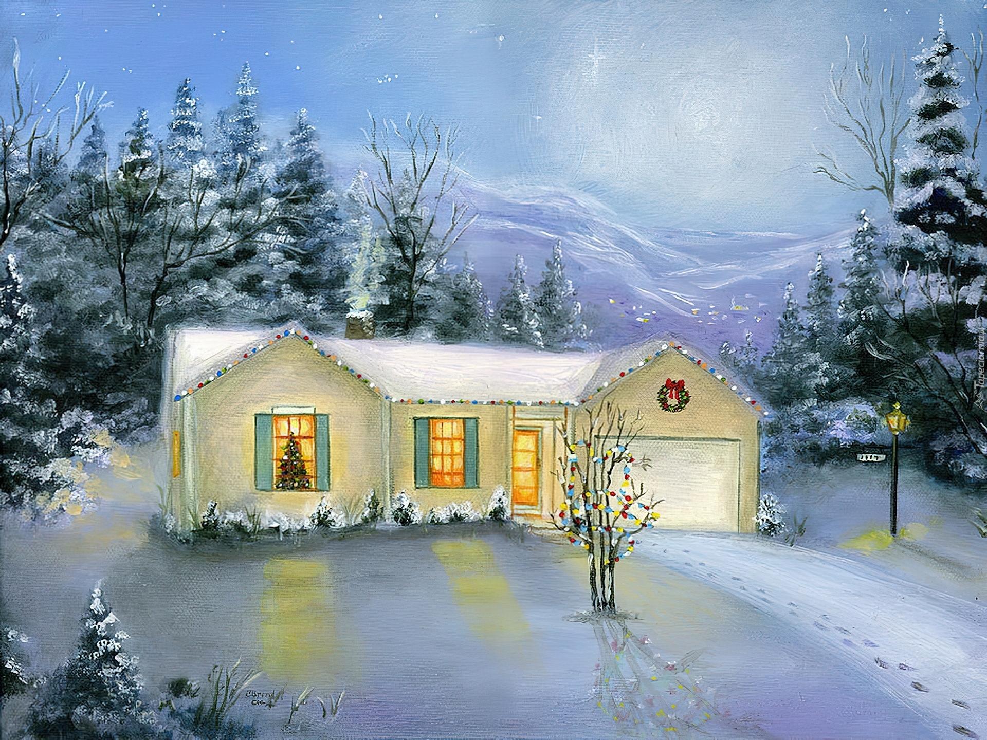 Dom, Zima, Boże, Narodzenie, Obraz