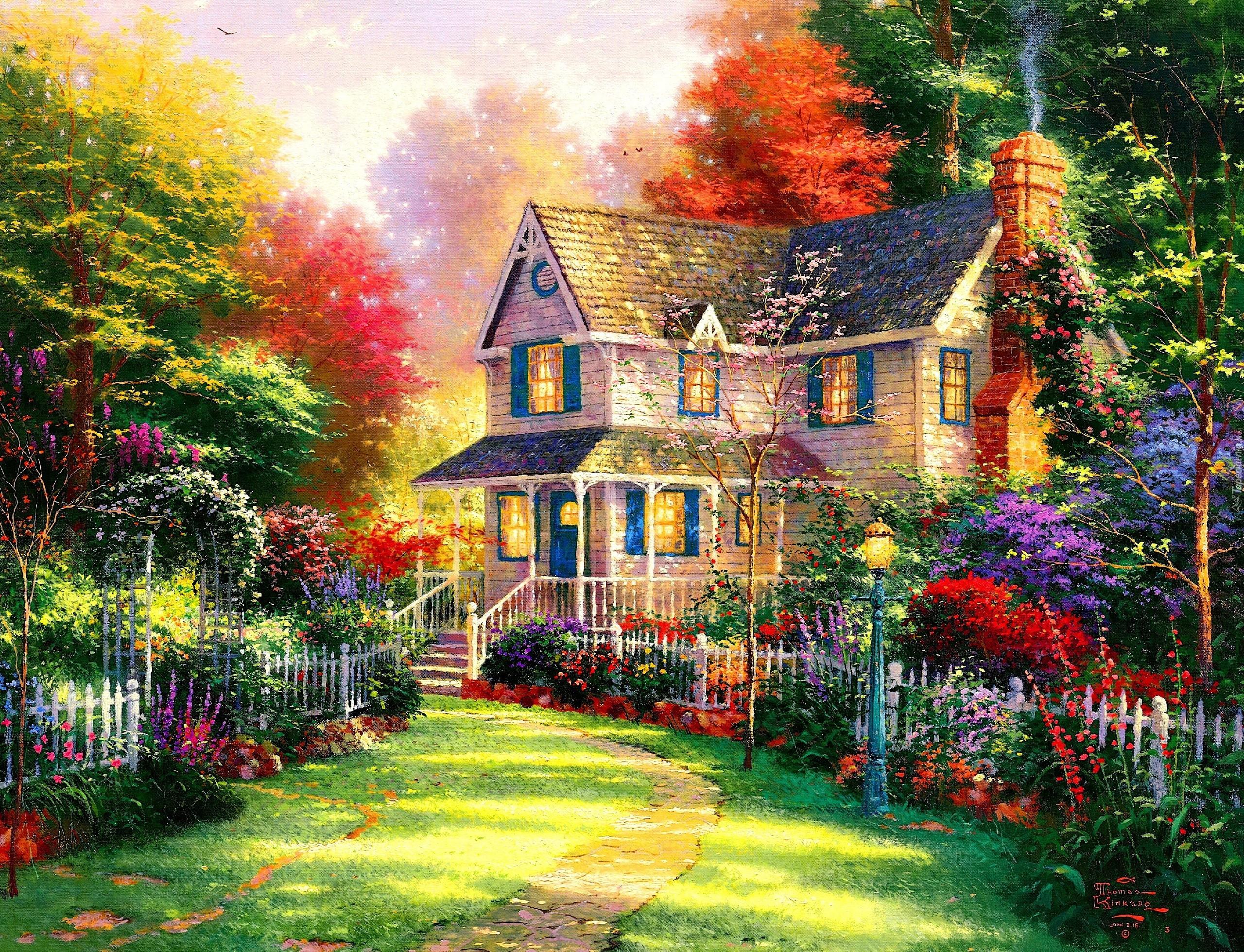 Dom Kolorowe Drzewa Krzewy Kwiaty Obraz
