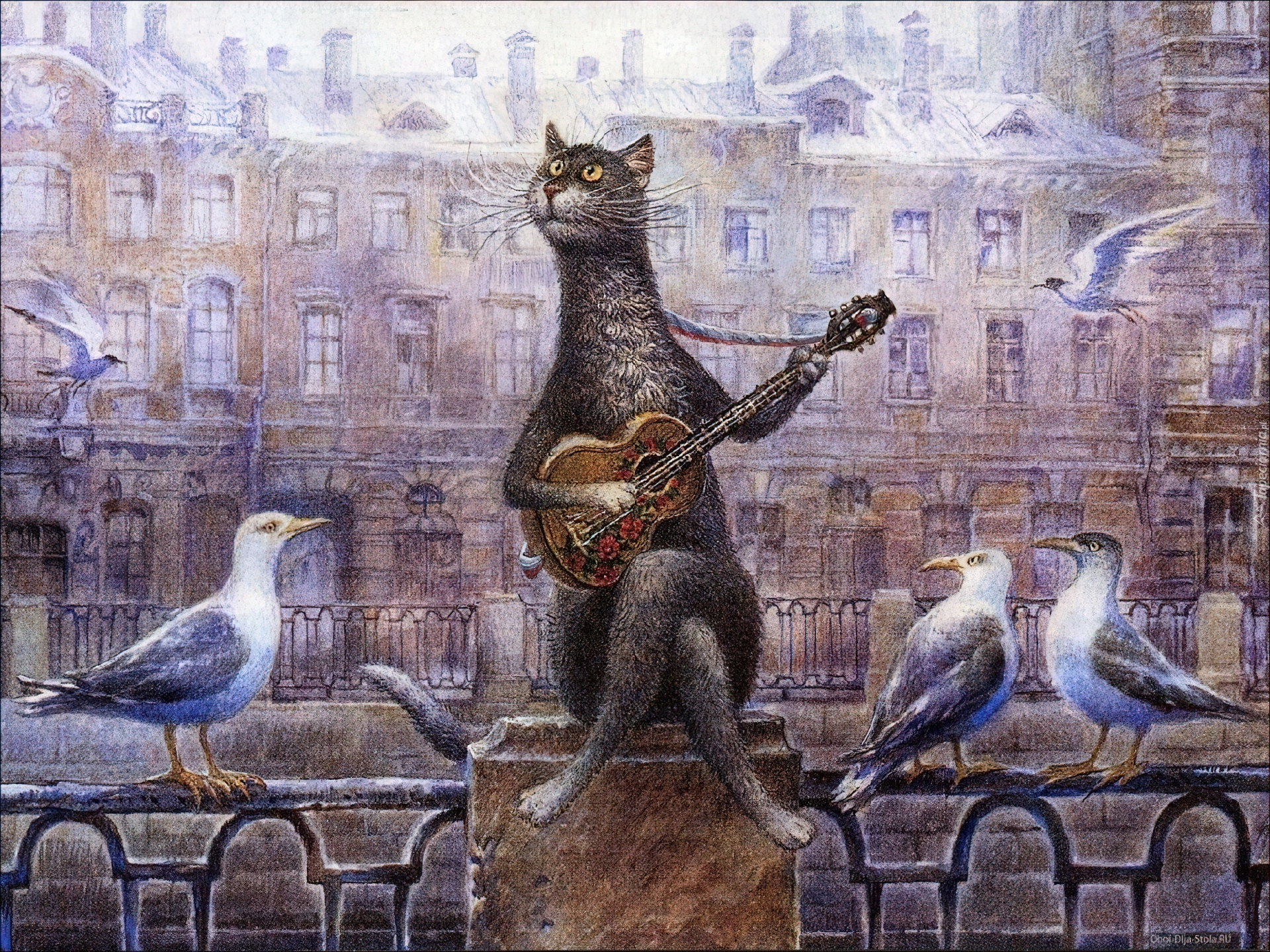 Włodzimierz Rumiancev Obraz Kot Gitara Gołębie