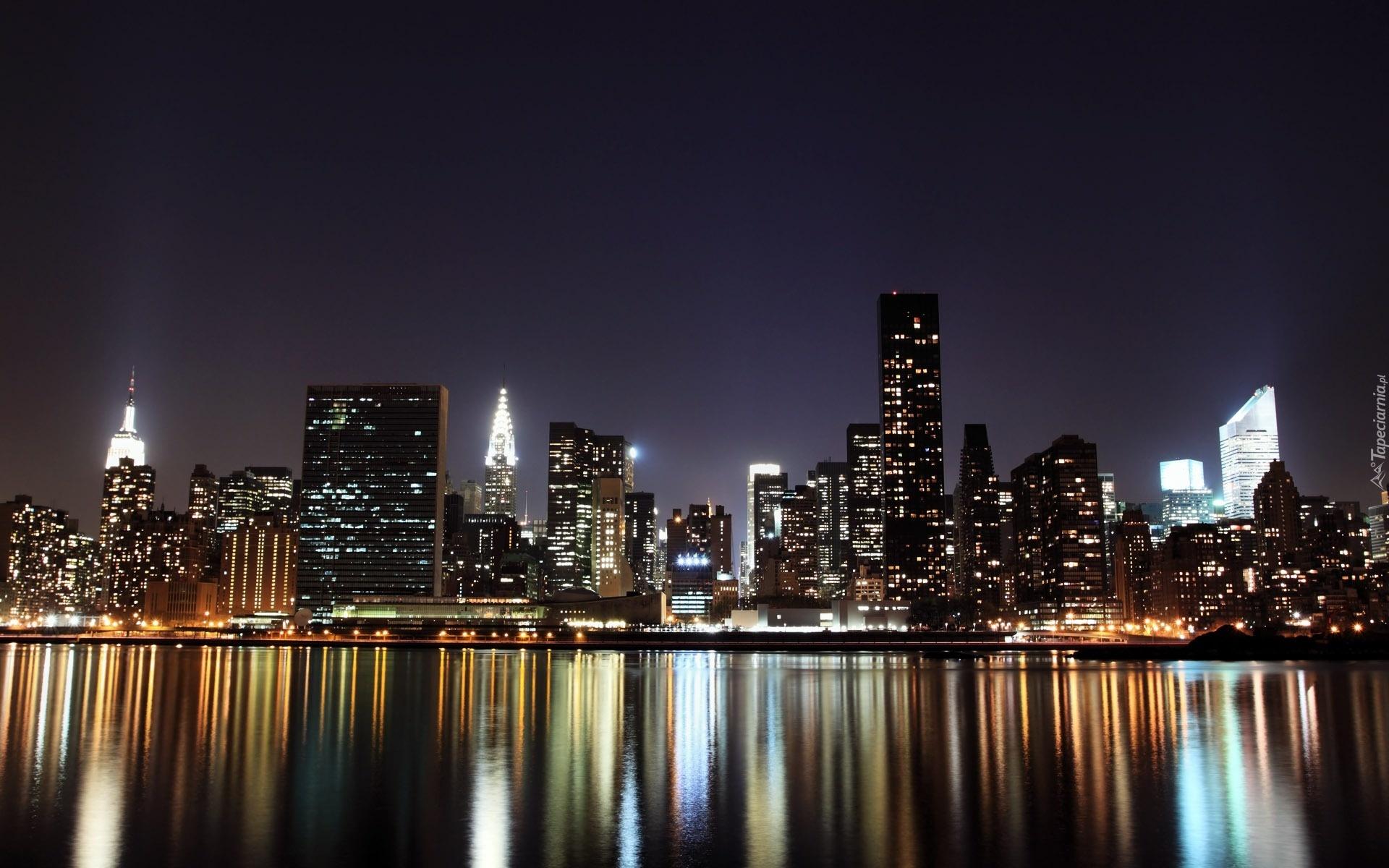 Rzeka, Panorama, Miasta, Nocą, Odbicie