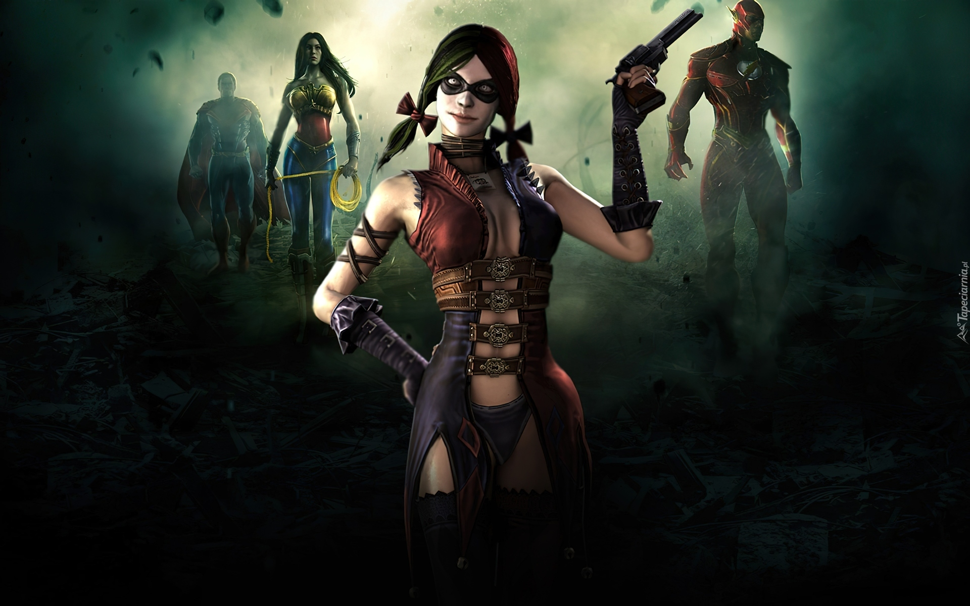Injustice Gods Among Us, Harley Quin, Wonder Woman, Flash