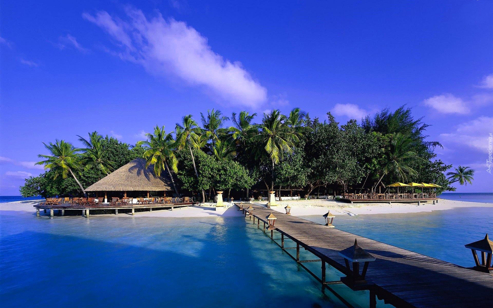 Summer Beach Scene 4k Hd Desktop Wallpaper For 4k Ultra Hd: Ocean, Molo, Wyspa, Malediwy