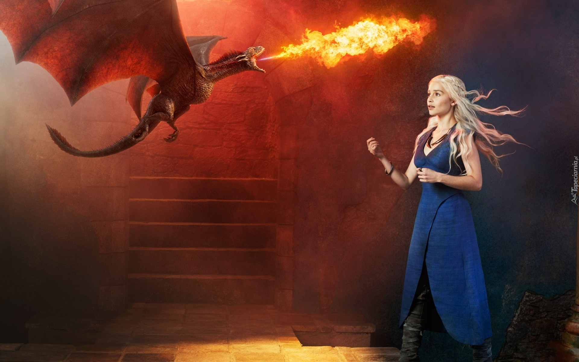 gra o tron, game of thrones, emilia clarke - daenerys targaryen, smok