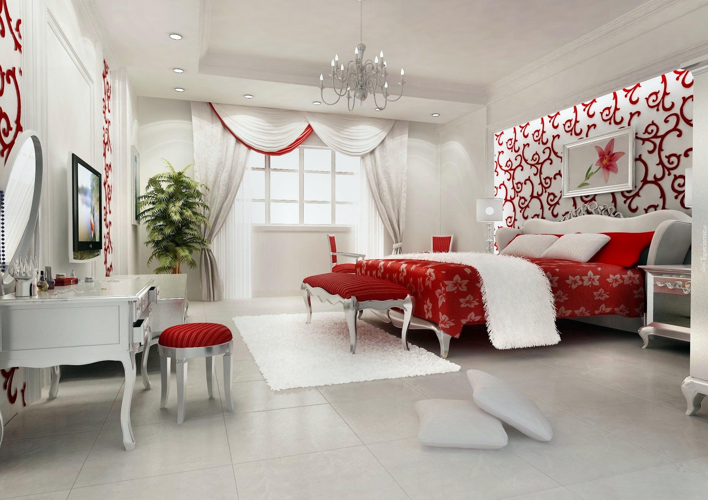 Dom, Wnętrze, Biała, Sypialnia