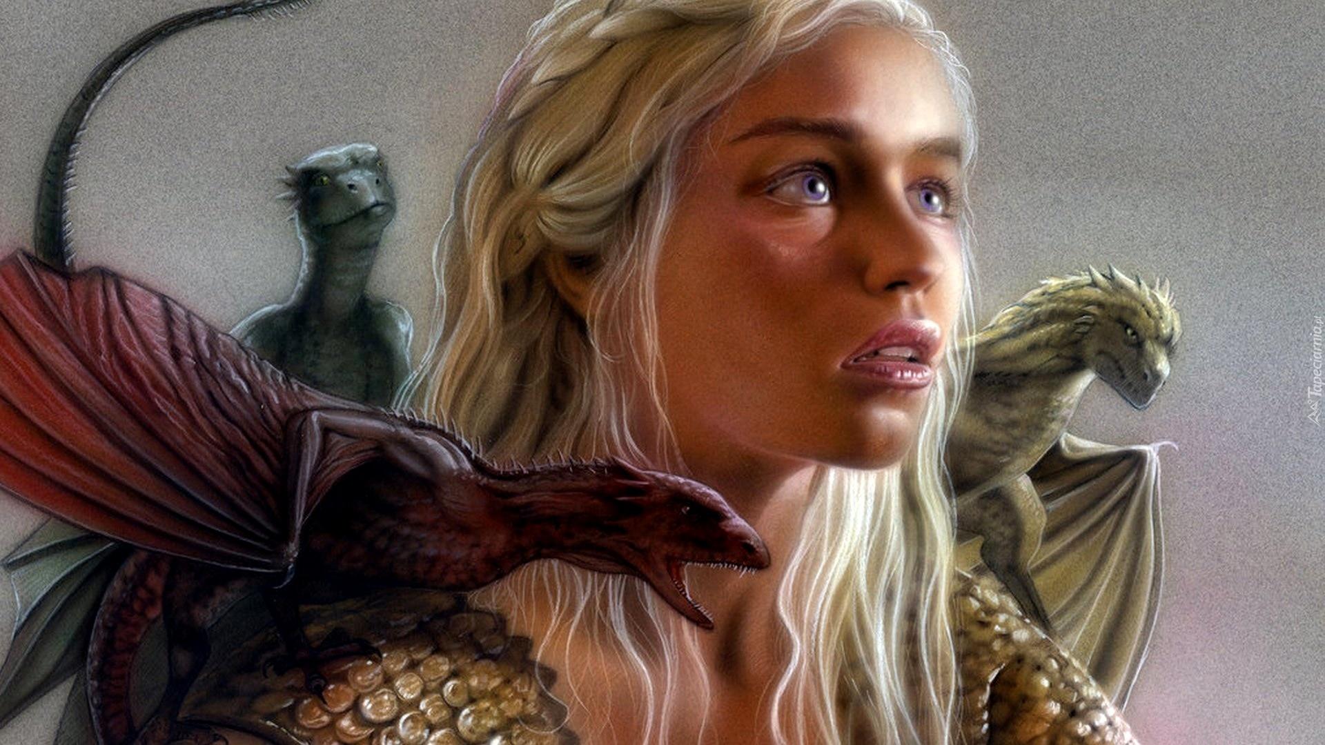 gra o tron, game of thrones, emilia clarke - daenerys targaryen, smoki