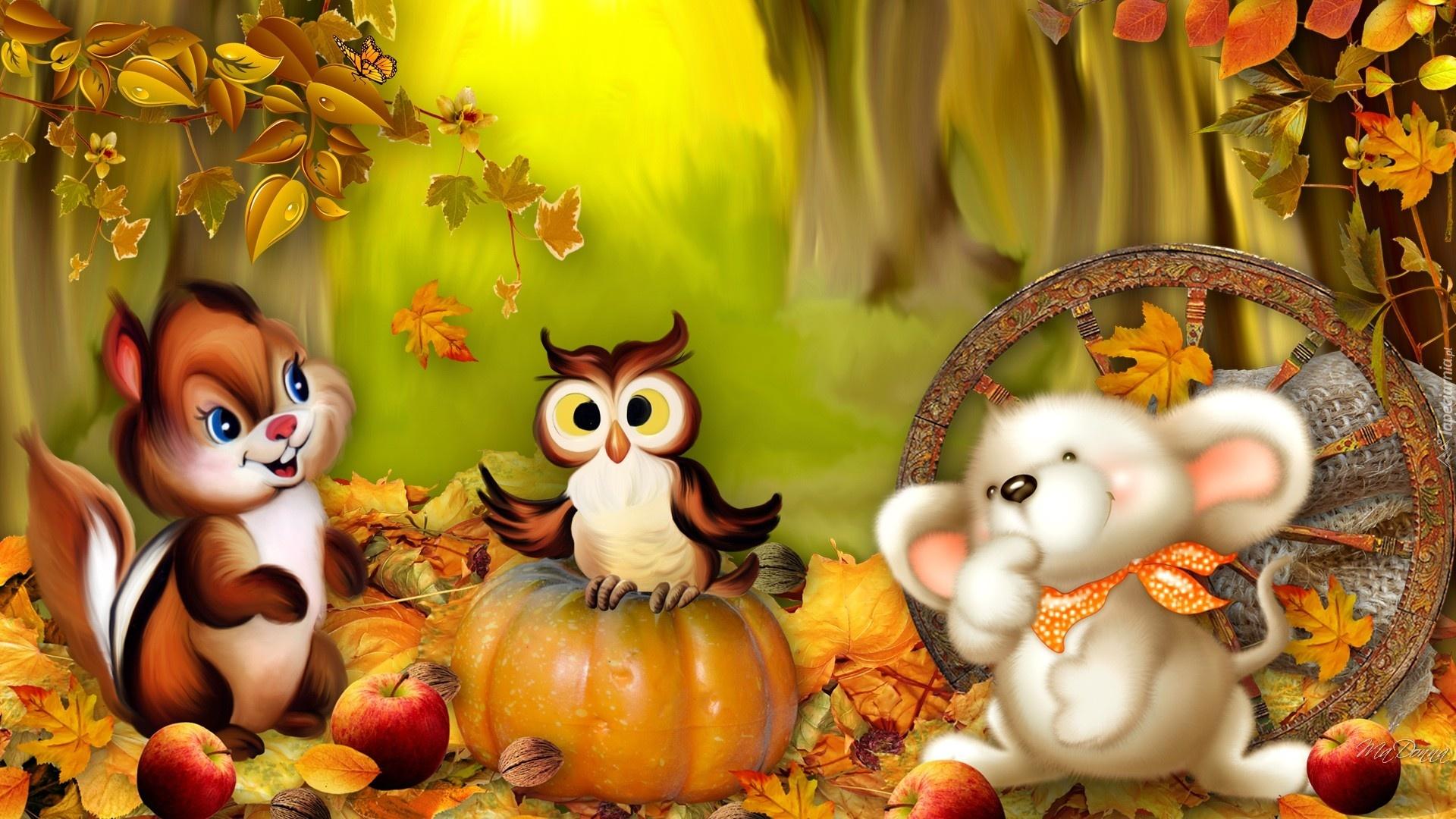 Картинки звери осенью для детского сада