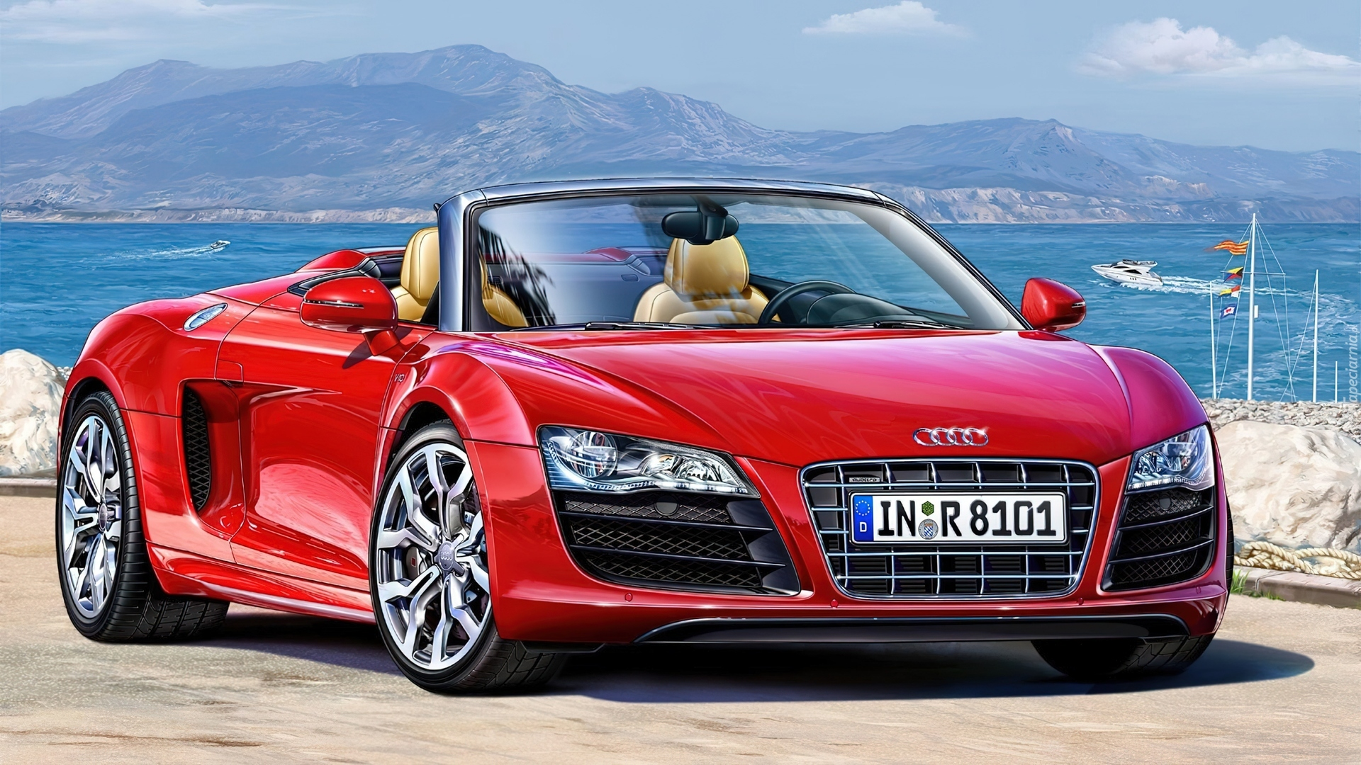 czerwone audi r8 cabrio g ry woda. Black Bedroom Furniture Sets. Home Design Ideas