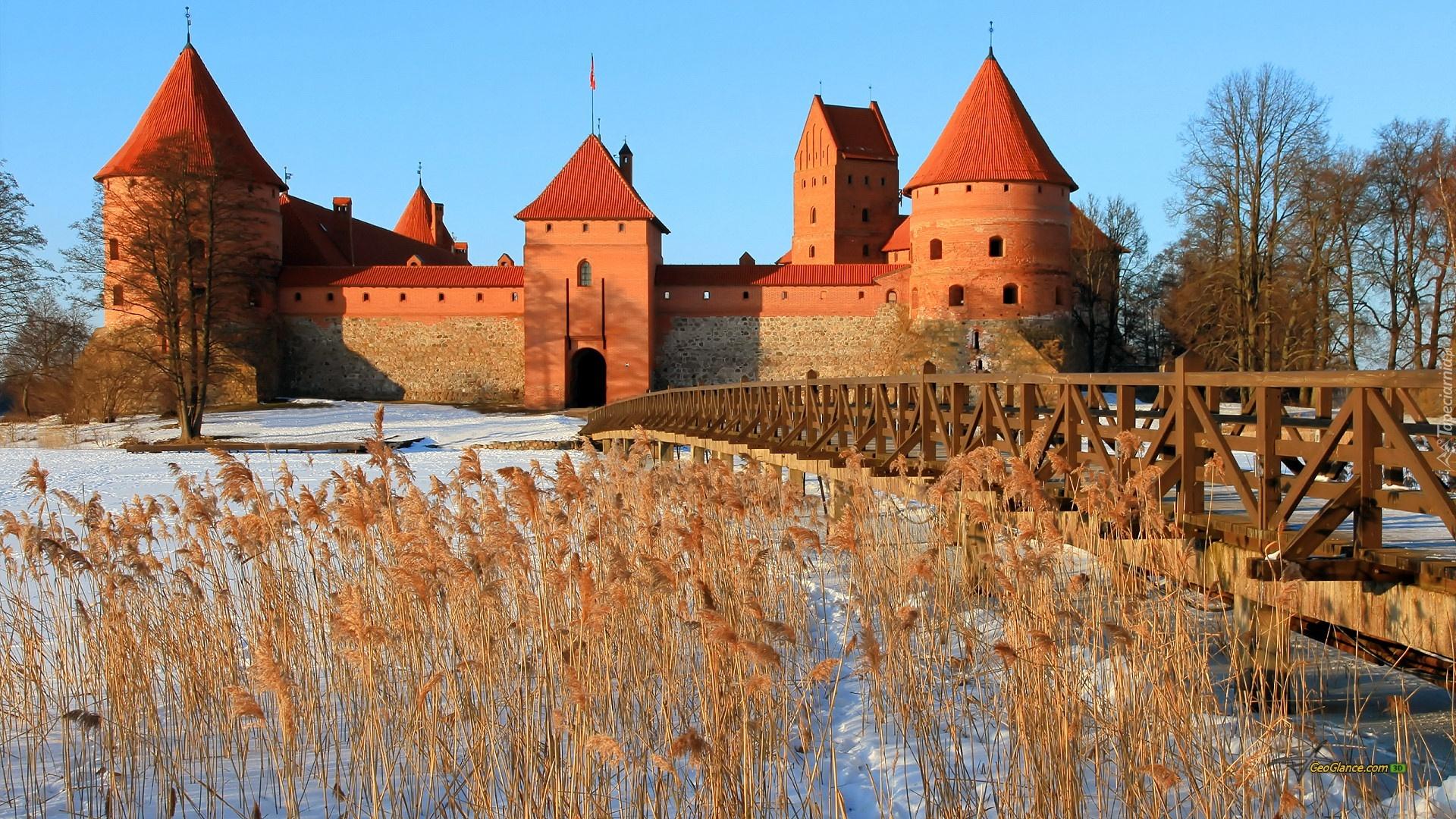 Zamek w Trokach, Litwa, Zima