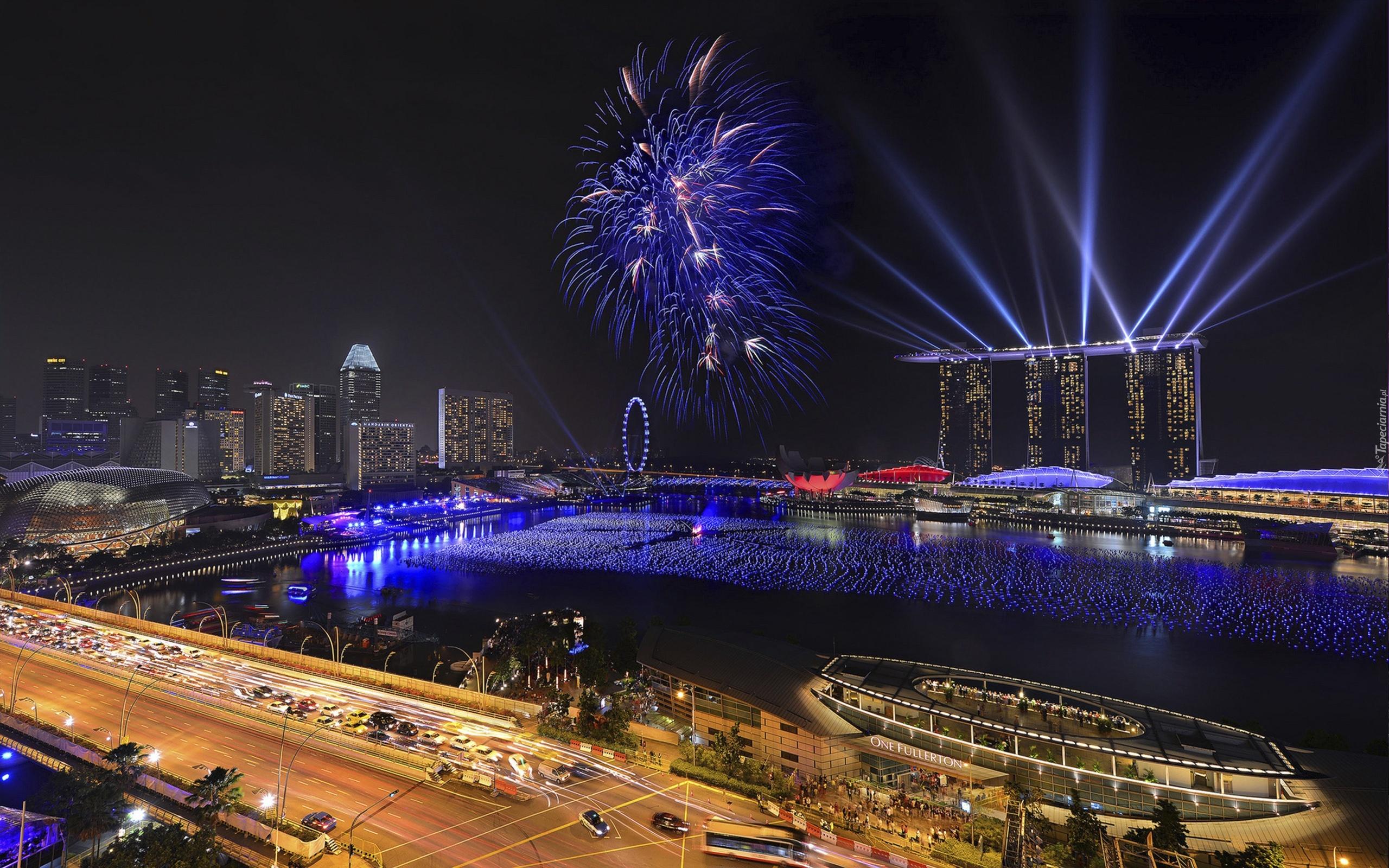страны архитектура ночь Сингапур country architecture night Singapore скачать
