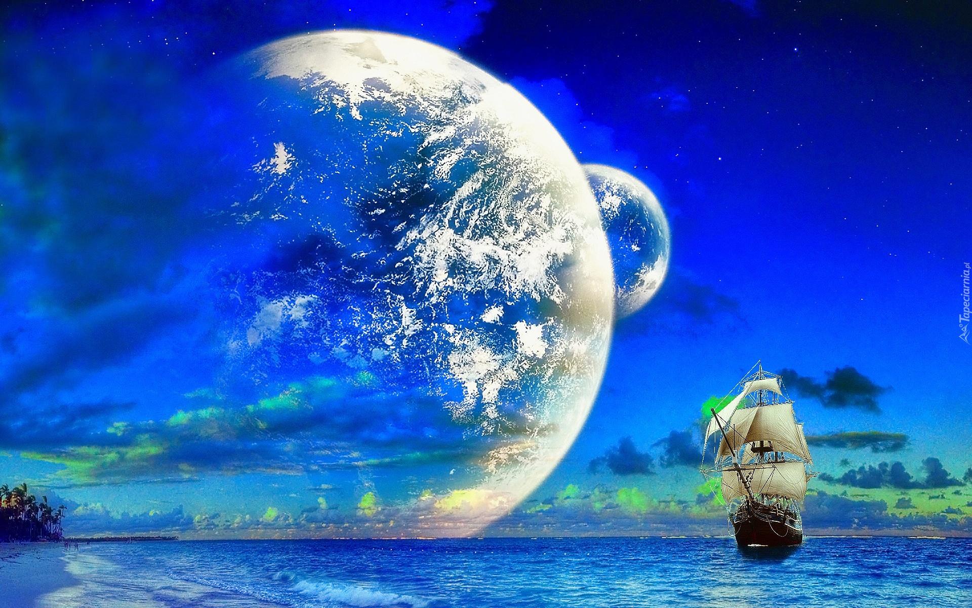 Grafika statek aglowiec planety morze for Sfondi per desktop 3d