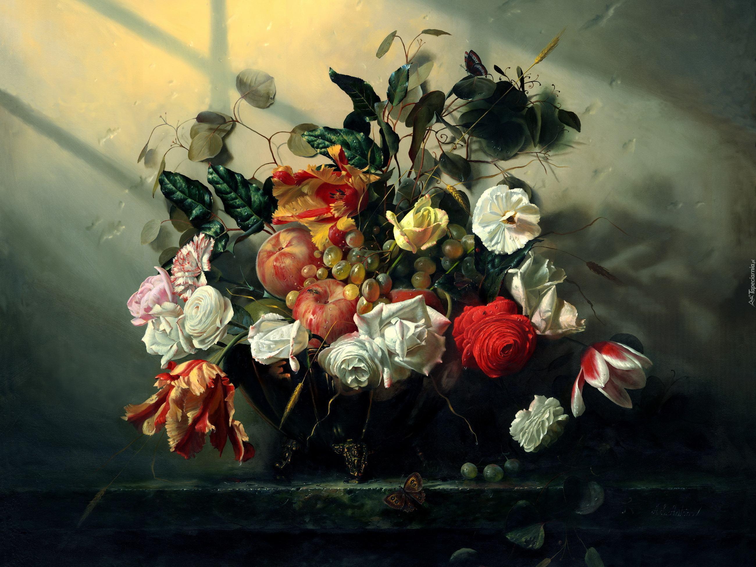 Bardzo dobra Aleksiej Antonow, Martwa Natura, Kwiaty, Owoce, Obraz QV71