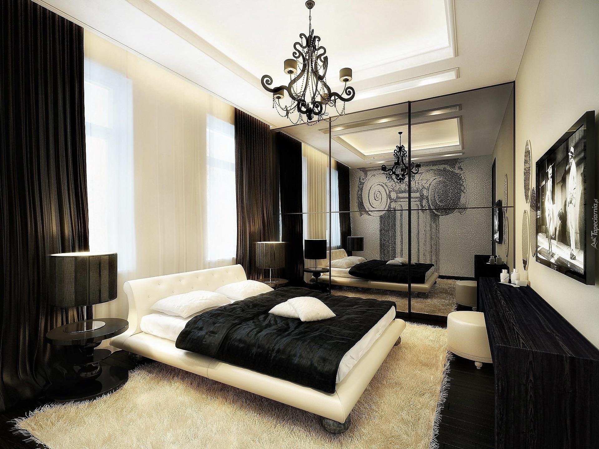 Dom Wnętrze Czarno Biała Sypialnia Lustra