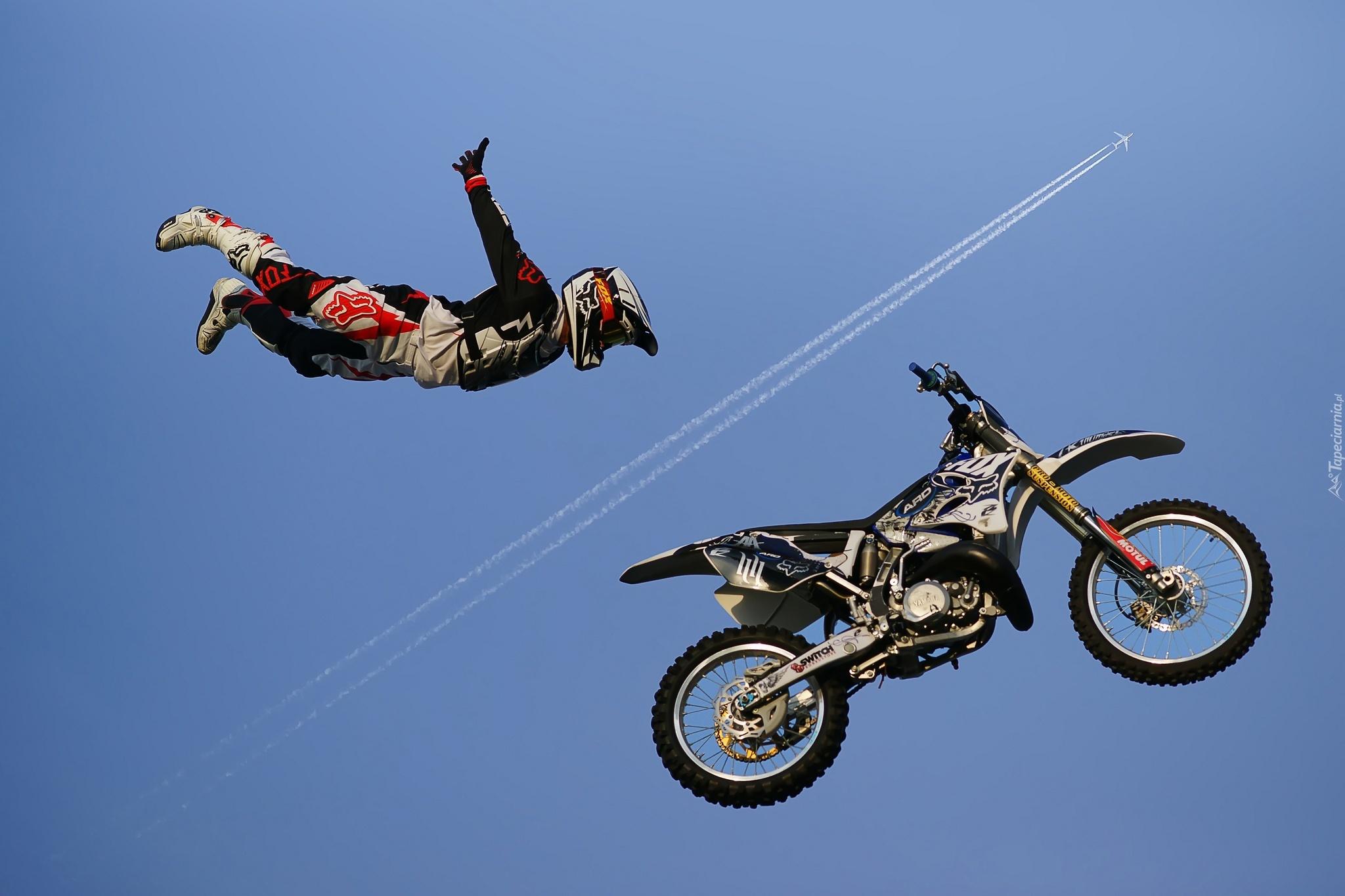 Niebo Motocykl Akrobacja Mężczyzna Samolot Cross