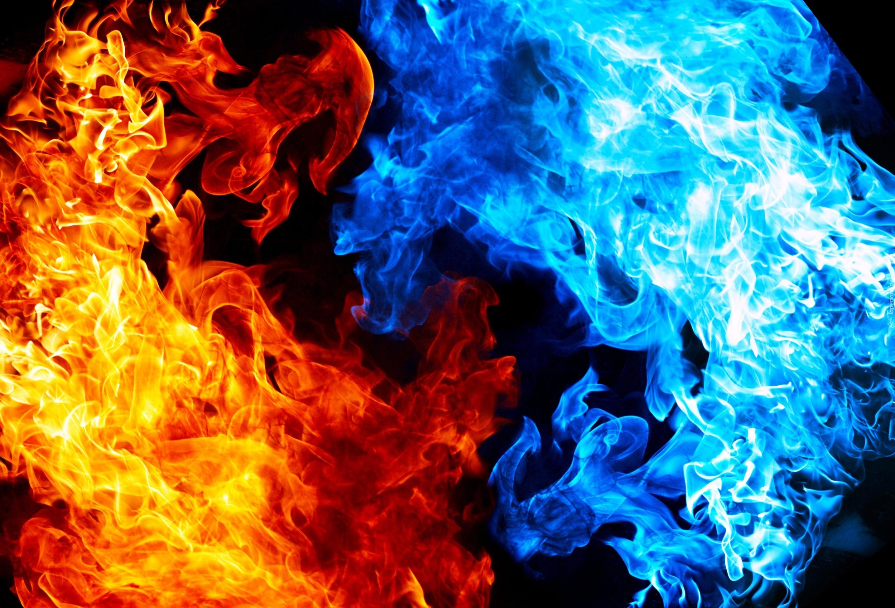 ogień płomienie czerwony niebieski