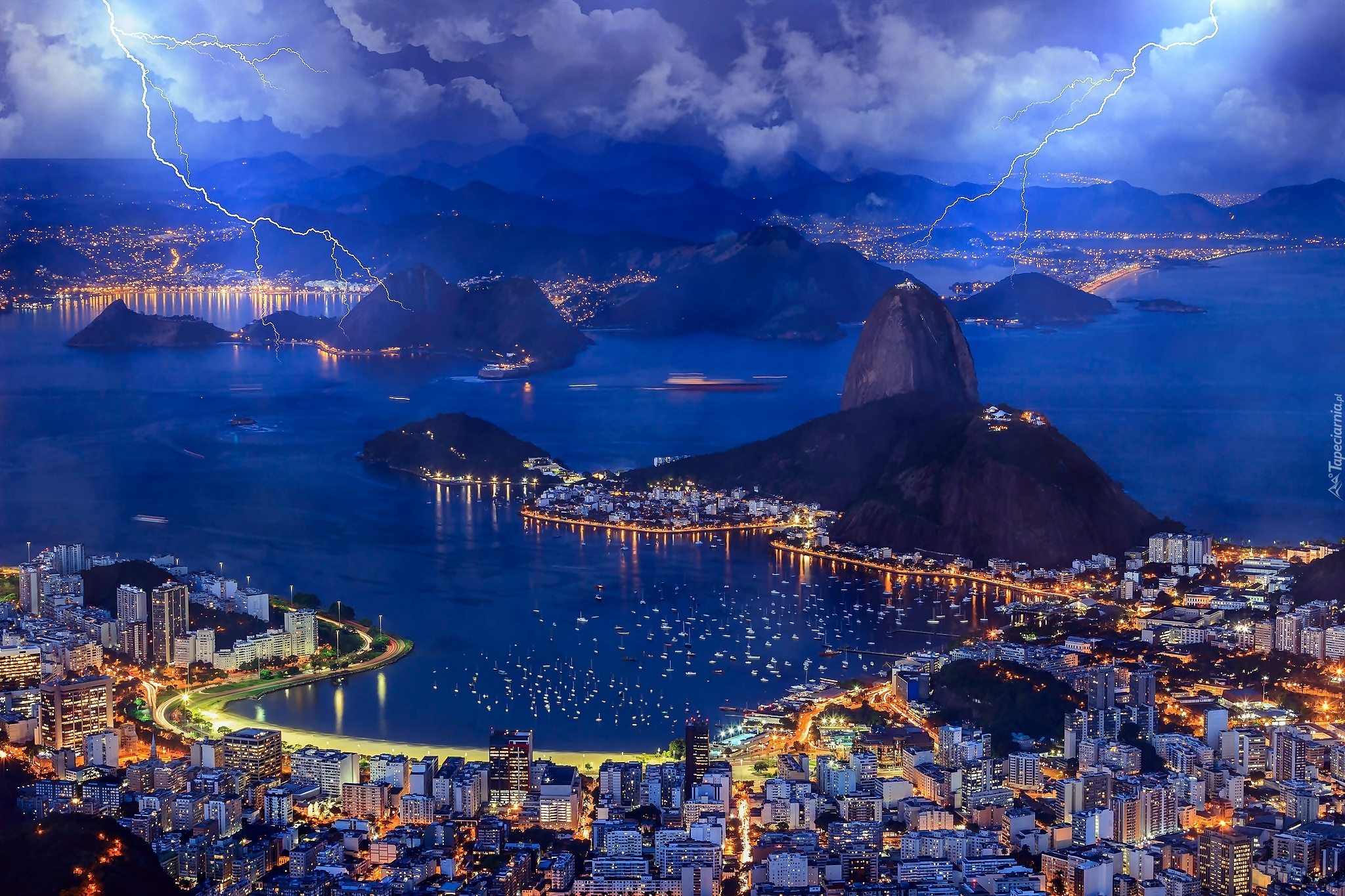Brazylia Rio De Janeiro Burza Pioruny Miasto
