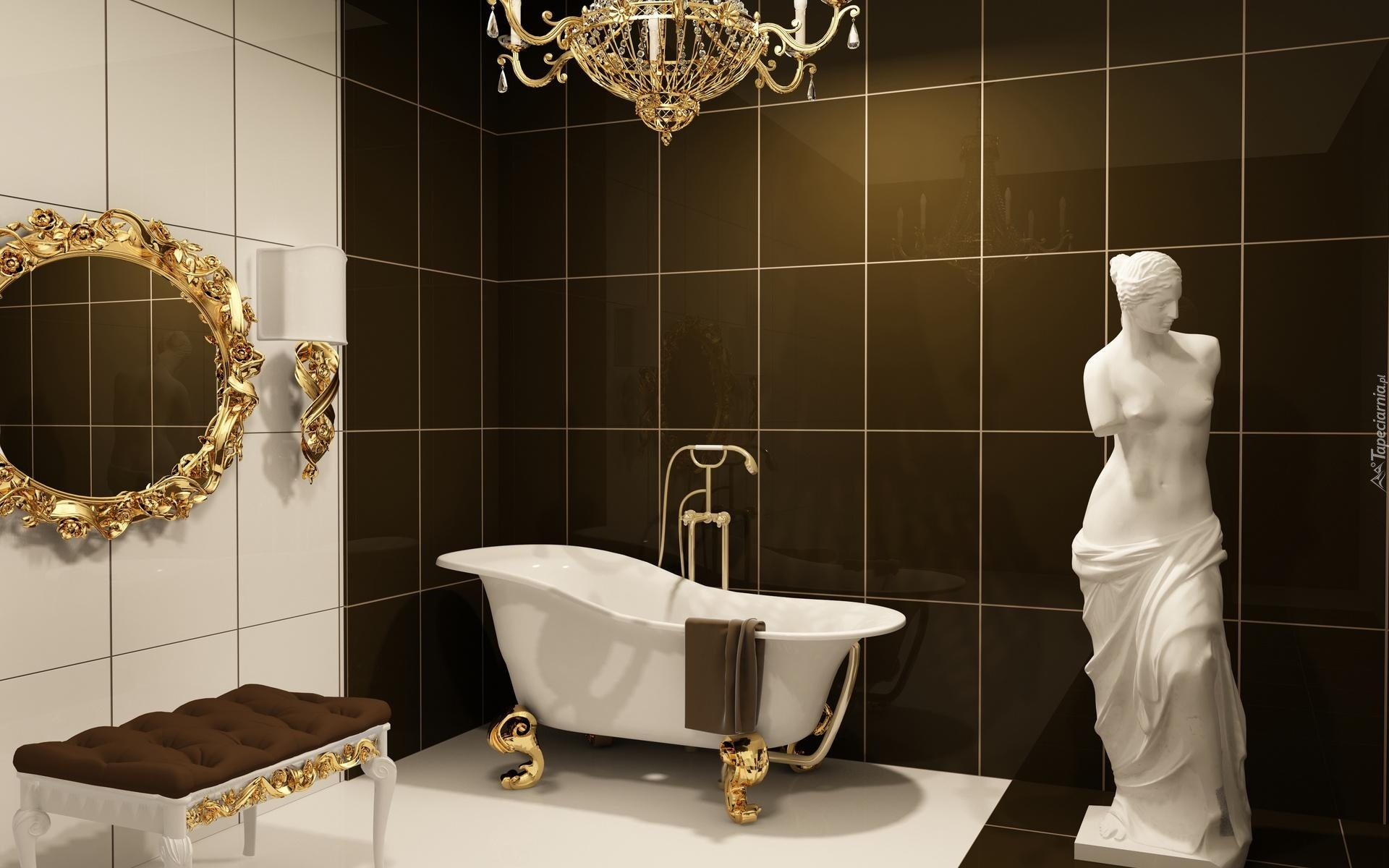 Dom łazienka Wanna Lustro Figurka Lustro