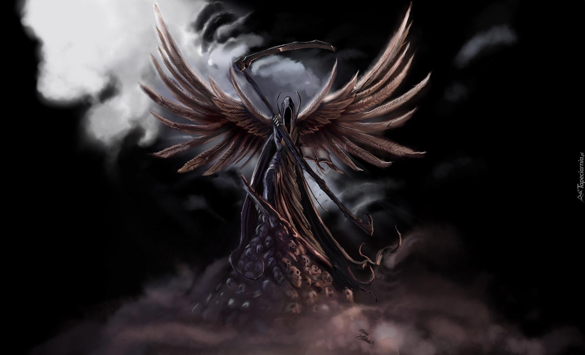 Anioł śmierci Chmura Kosa Czaszki