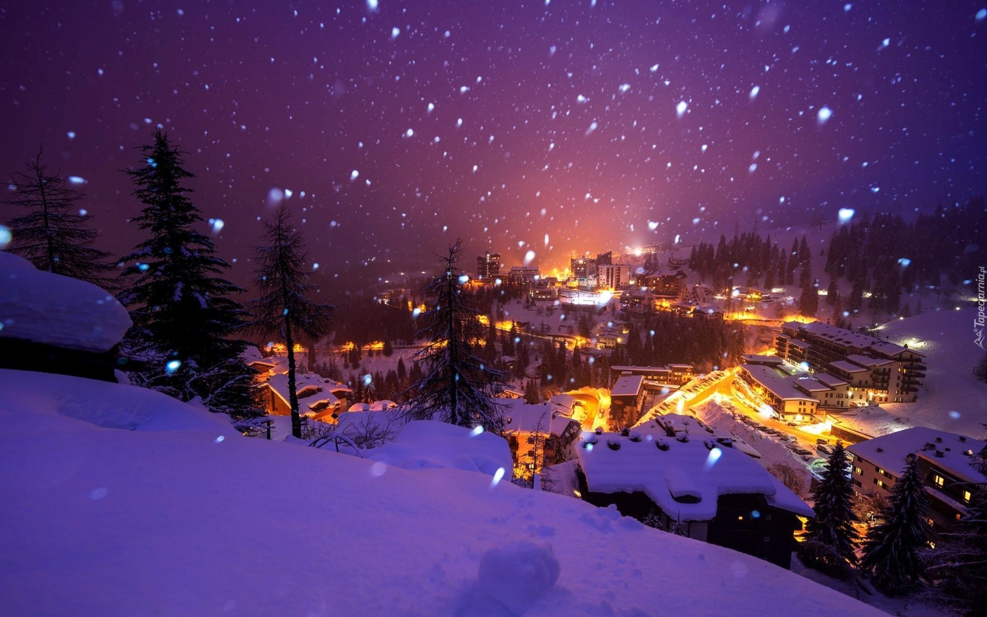 Zima nieg noc miasto for Sfondi gratis desktop inverno