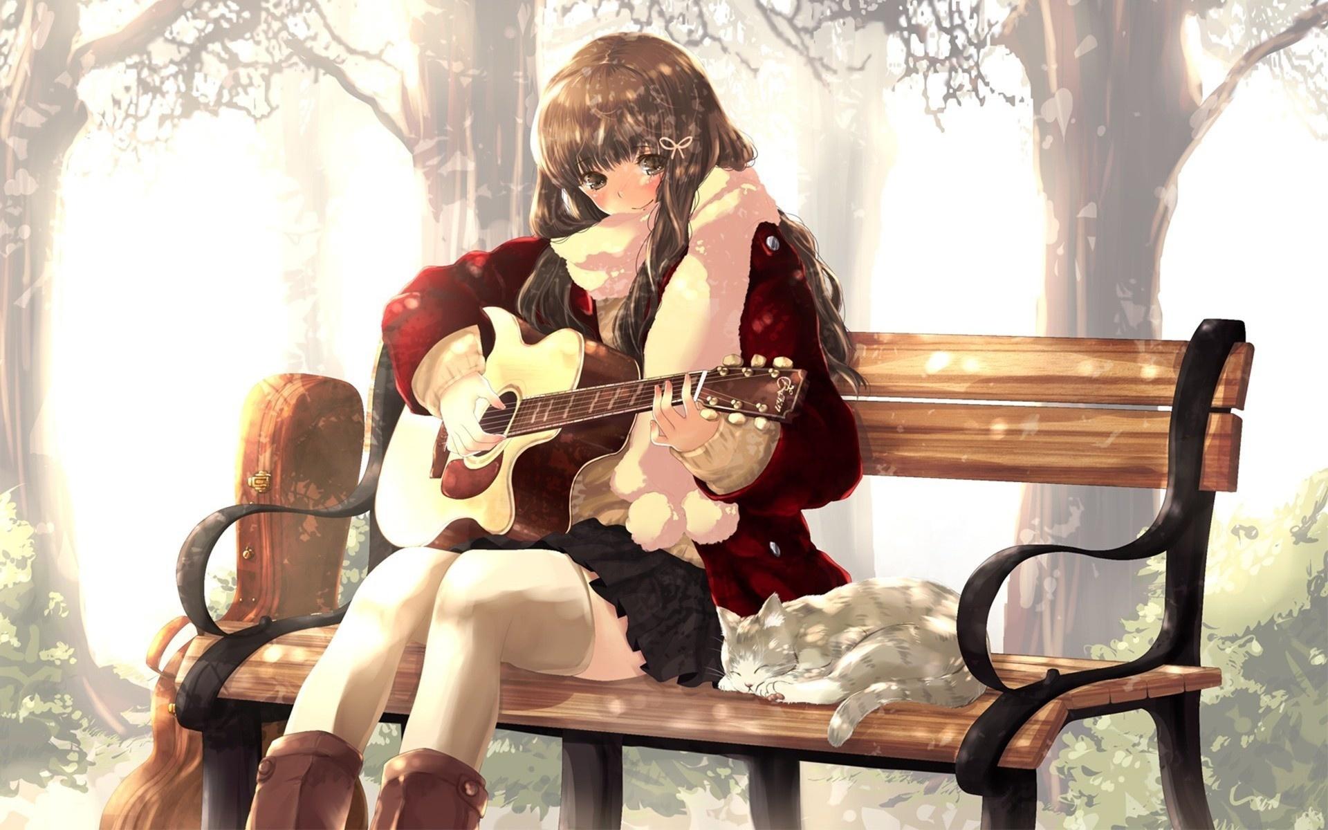 Dziewczyna Z Gitarą ławka Kot Zima