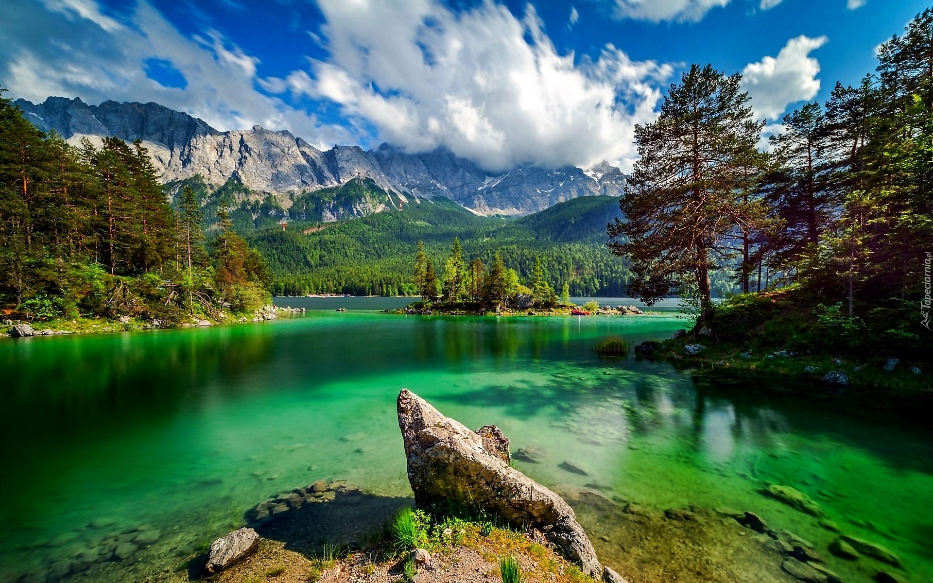 Góry, Jezioro, Wysepka, Kamień, Lato