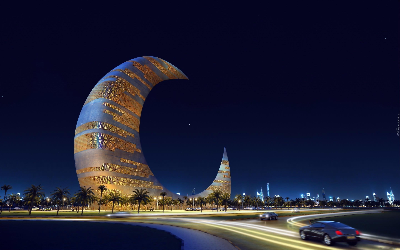Budynek, Wieżowiec, Półksiężyc, Dubaj