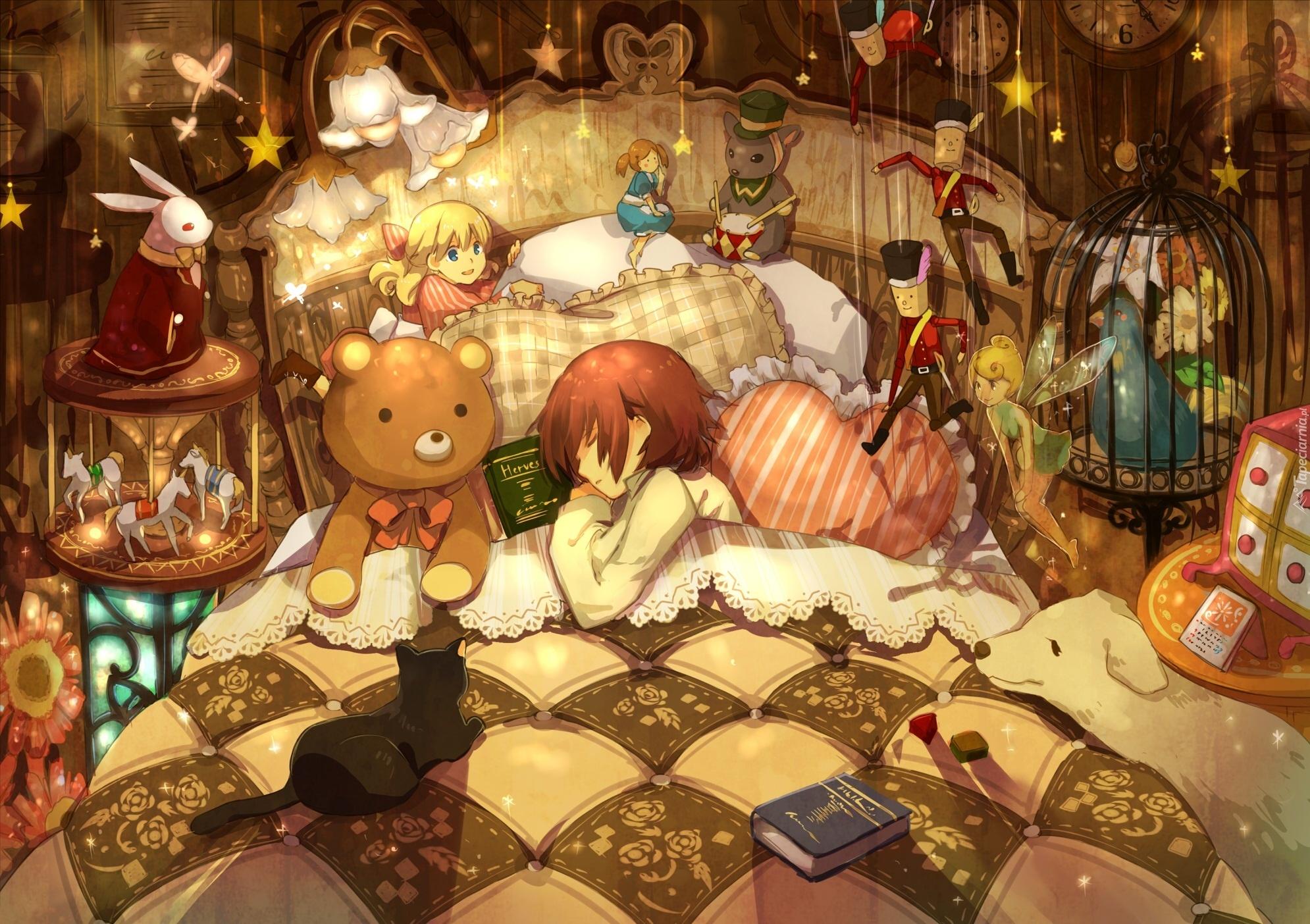 Znalezione obrazy dla zapytania łóżko anime