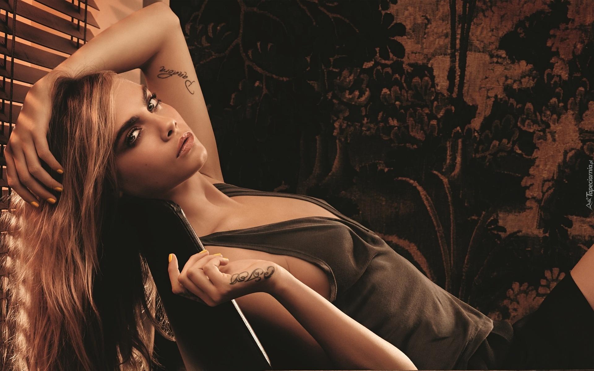 Kobieta Makijaż Tatuaż Cara Delevingne Aktorka Modelka
