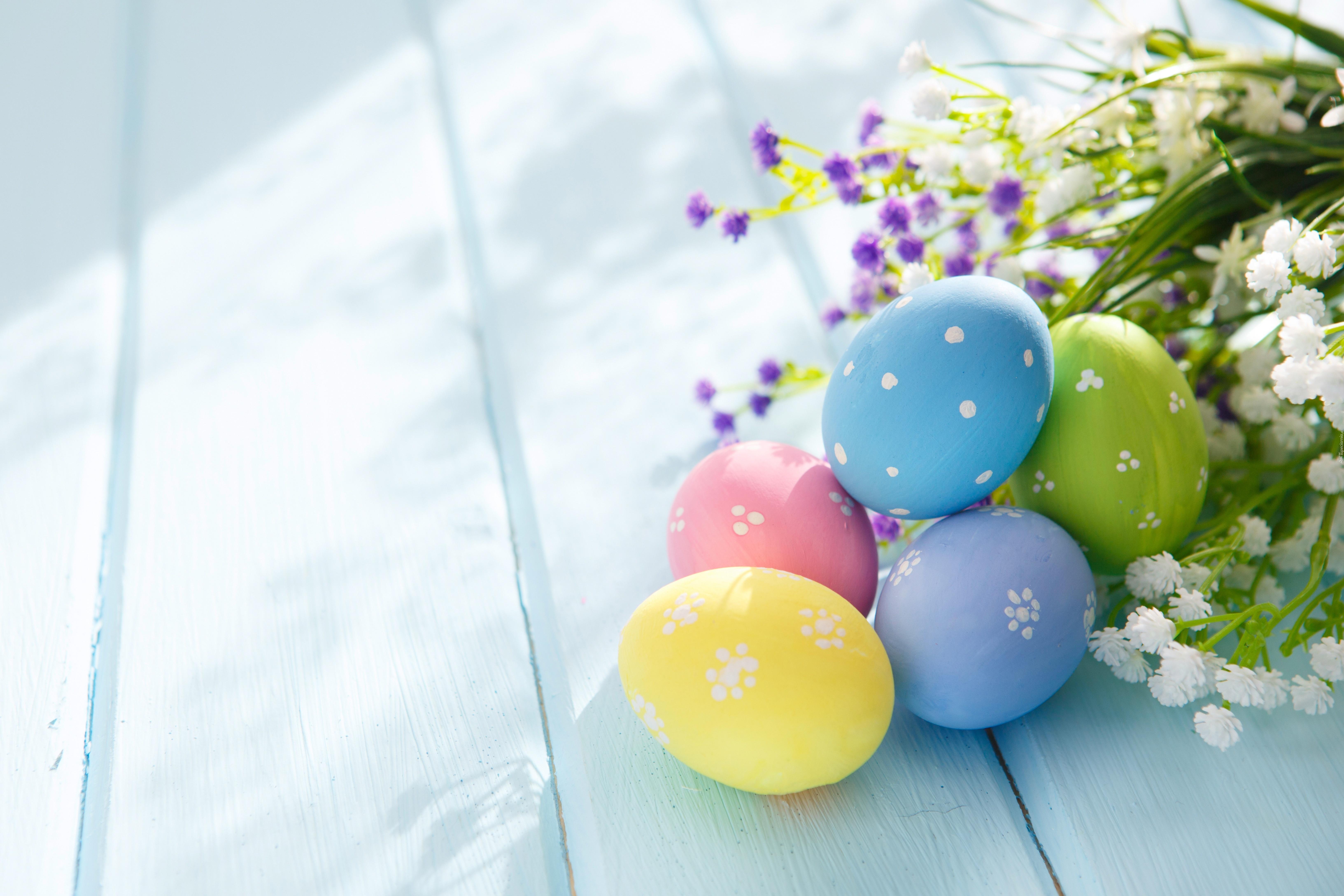 Wielkanoc, Pisanki, Jajka, Kwiaty