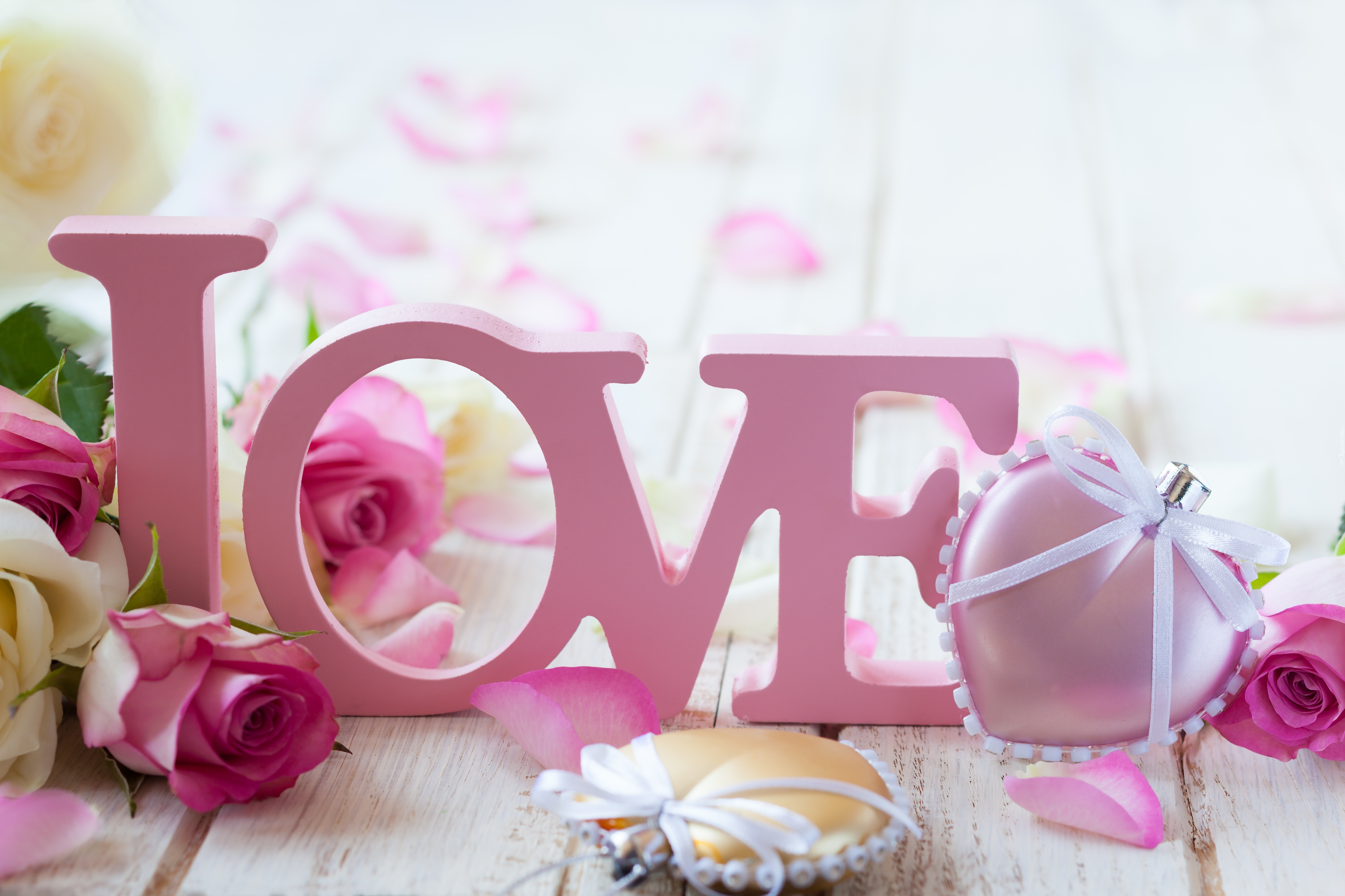 Róże, Kwiaty, Napis, Love, Serce