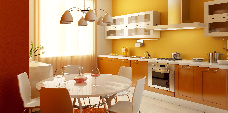 żółta Kuchnia Stół Krzesła