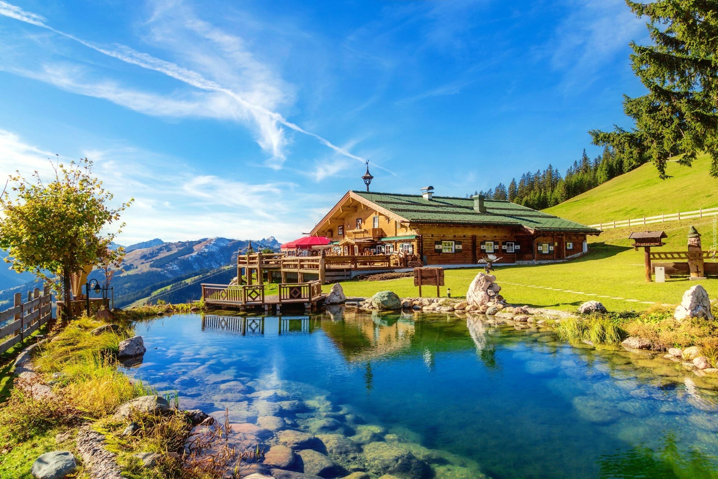 Górski dom, Staw, Krajobraz