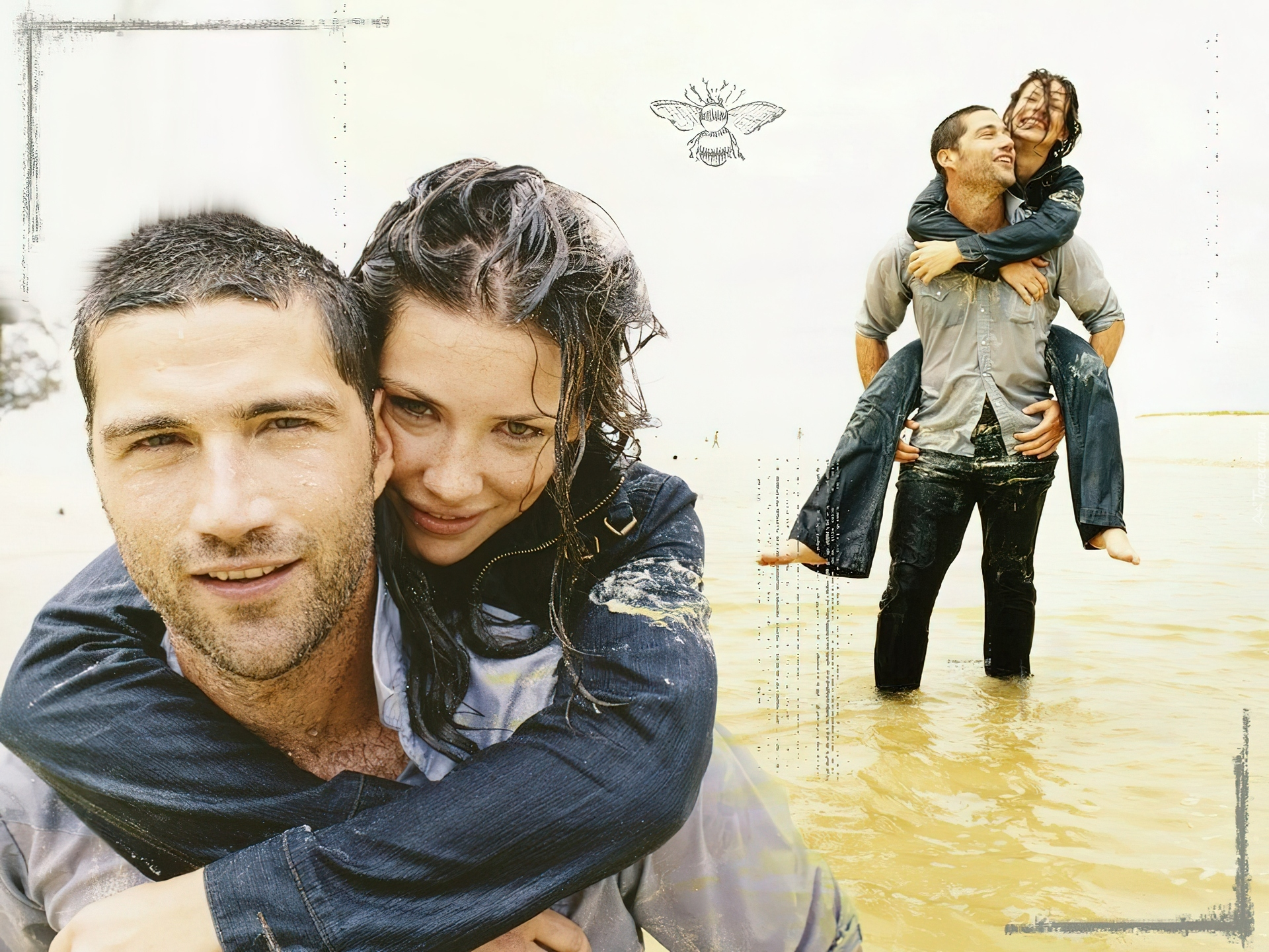 Filmy Lost, Evangeline Lilly, Matthew Fox, mokrzy