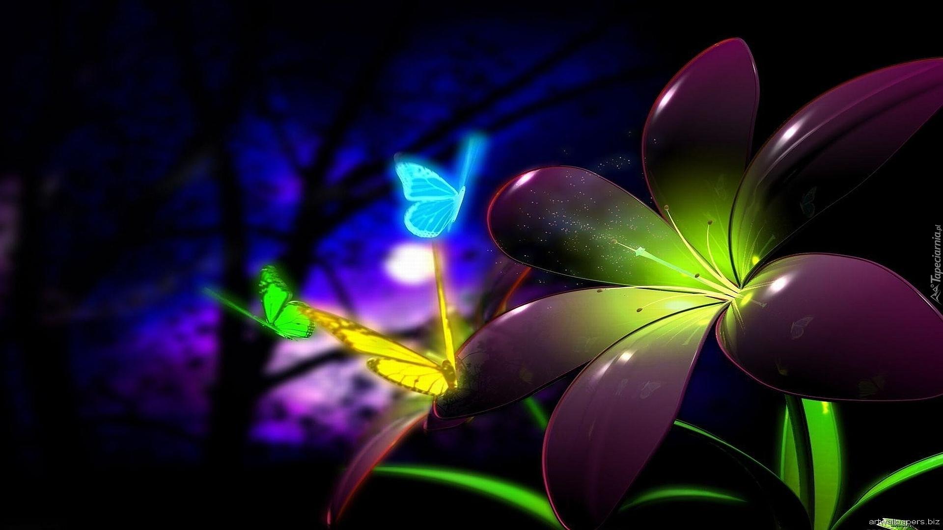 Kwiat Motyle Neon 3d